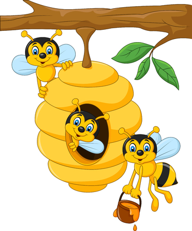 abeja caricatura: Ilustración vectorial de dibujos animados rama de un árbol con un panal de abejas y una abeja Vectores