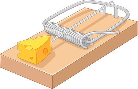 Vector illustration of Cartoon free cheese in a mousetrap
