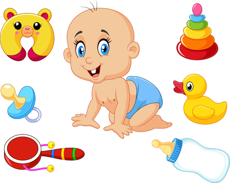 interesting: Vector illustration of Cute baby with baby toys collection set