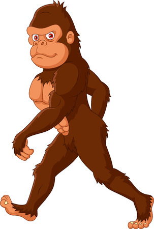 Vector illustration of Cartoon Sasquatch walking on white background Illustration