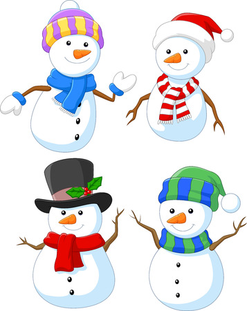 Vector illustration of Cartoon happy snowman collection set Illustration