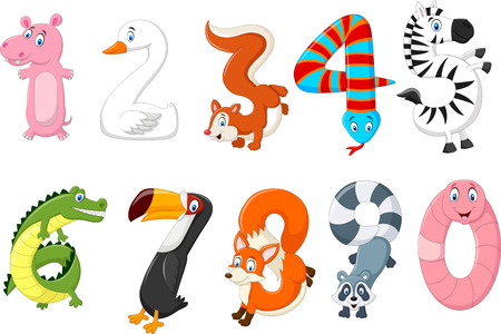 number of animals: Vector illustration of number with a animal concept Illustration