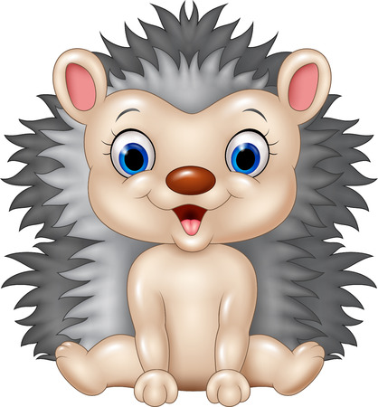 lining: Vector illustration of Cute baby hedgehog sitting isolated on transparent background