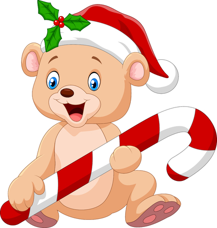 Vector illustration of Cartoon funny baby bear holding Christmas candy