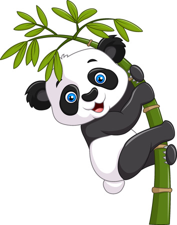 Vector illustration of Cute funny baby panda hanging on a bamboo tree Иллюстрация