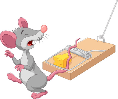 Vector illustration of Cartoon mouse in a mousetrap isolated on white background