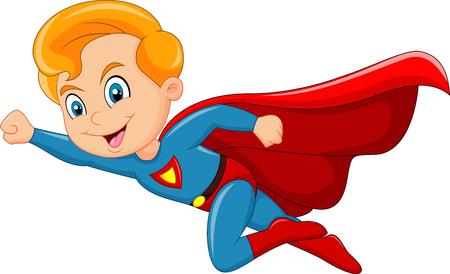 mosca caricatura: Ilustraci�n del vector del muchacho del super h�roe de dibujos animados aislado en el fondo blanco