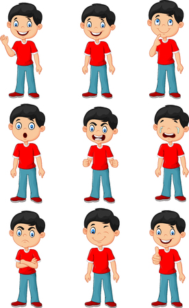 Vector illustration of Little boy in various expression isolated on white background Ilustração