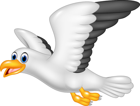 Vector illustration of Cartoon flying seagull isolated on white background Illustration