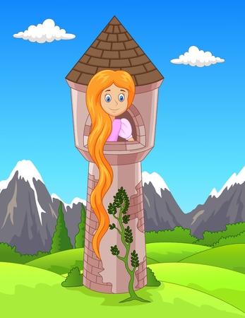 Ilustración vectorial de la princesa con el pelo largo esperando en la torre aislada Foto de archivo - 47614340