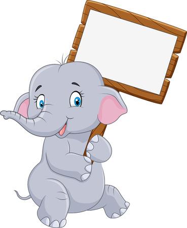 Ilustración de vector de elefante divertido de dibujos animados con cartel en blanco