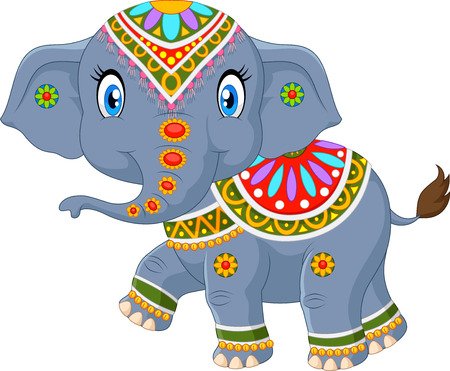 traditional illustration: Vector illustration of Cartoon elephant with indian classic traditional costume
