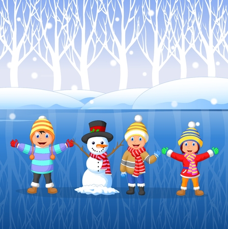 Vector illustration of Cartoon kids playing on snow in winter time
