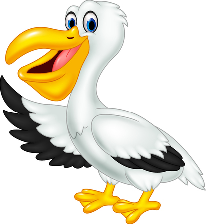 Pelican: Vector illustration of Cute cartoon pelican waving isolated on white background