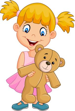 oso de peluche: Ilustración del vector de la historieta de la niña que juega con el oso de peluche