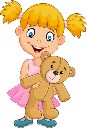 Vector illustration of Cartoon little girl playing with teddy bear