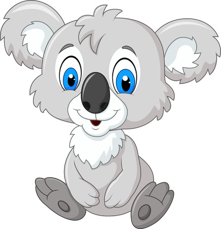 Vector illustration of Cartoon adorable koala sitting isolated on white background