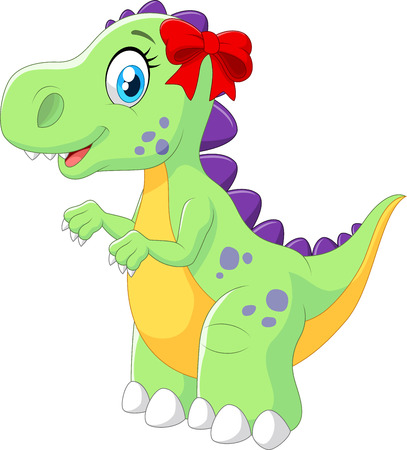 cartoon dinosaur: Vector illustration of Cartoon female dinosaur isolated on white background
