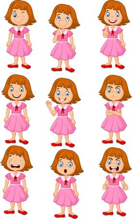 Vector illustratie van het meisje in verschillende uitdrukking op een witte achtergrond Stock Illustratie