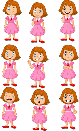 Vector illustration of Little girl in various expression isolated on white background Ilustração