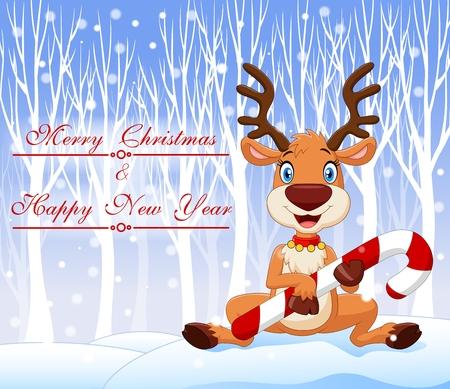 renna: Illustrazione vettoriale di Cartoon bambino divertente holding dell'orso caramella di Natale con sfondo inverno