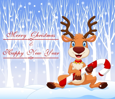 Vector illustration of Cartoon funny baby bear holding Christmas candy with winter background