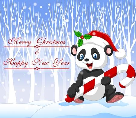 oso panda: Ilustración vectorial de dibujos animados oso panda divertida celebración de dulces de Navidad con fondo de invierno Vectores