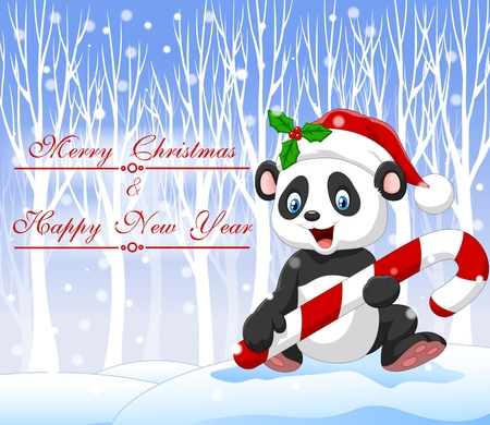 Vector illustration of Cartoon funny panda bear holding Christmas candy with winter background