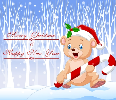 baby bear: Vector illustration of Cartoon funny baby bear holding Christmas candy with winter background