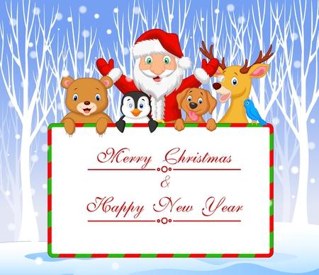 pinguinos navidenos: Ilustración del vector de la historieta de Santa y del amigo que sostiene felicitación de Navidad con fondo de invierno Vectores