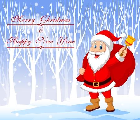 papa noel: Ilustración vectorial de Santa Claus con bell llevar saco con fondo de invierno