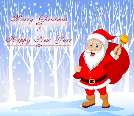 Vector illustration of Santa Claus with bell carrying sack with winter background