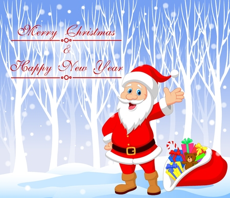 cartoon santa clause: Vector illustration of Cartoon Santa clause with winter background