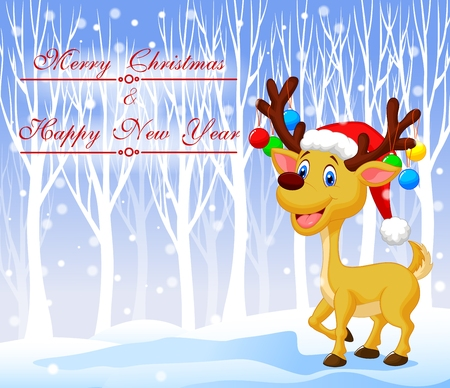 santa moose: Vector illustration of Christmas deer cartoon wearing red hat with winter background