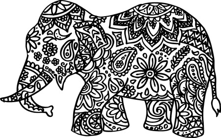 line drawing: Vector illustration of Black and white hand drawn doodle elephant
