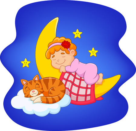 laying little: Vector illustration of Cute little girl with cat sleeping on the moon