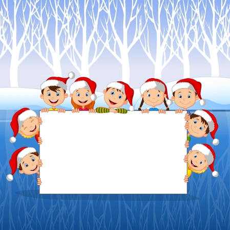 snow white: Vector illustration of Little Kids with a blank sign and Christmas hats with winter background Illustration