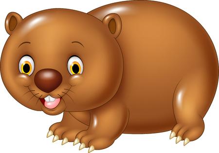 wombat: Ilustración del vector de la historieta animal divertido wombat aislado en fondo blanco