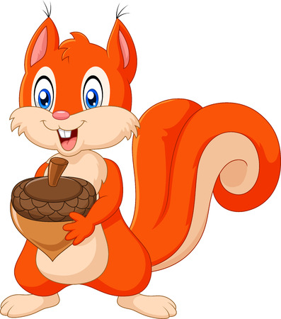 Vector illustration of Cartoon squirrel holding pinecone isolated on white background
