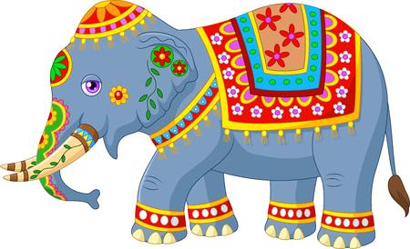 elefante cartoon: Ilustraci�n del vector del elefante de dibujos animados con el traje tradicional india cl�sica Vectores