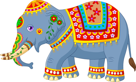 Vector illustration of Cartoon elephant with indian classic traditional costume