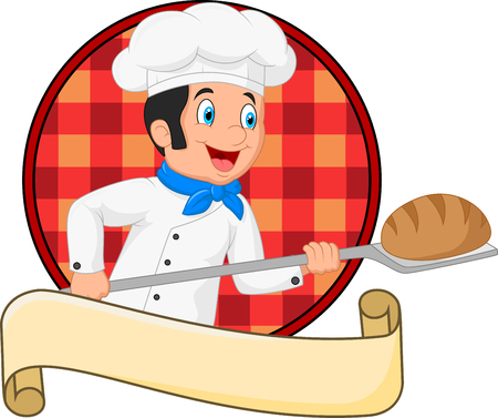 Vector illustration of Little chef baker holding bakery peel tool with bread