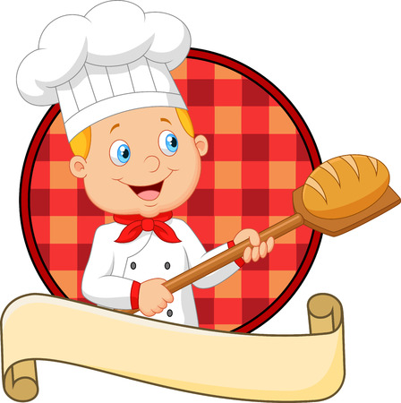 little chef: Vector illustration of Little chef is cooking bread