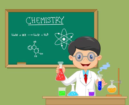 kid vector: Ilustración del vector del investigador Laboratorio - científico Muchacho aislado en bata de laboratorio con cristalería química Vectores