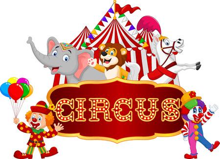 Ilustración vectorial de dibujos animados feliz animal de circo con el payaso en el fondo de carnaval