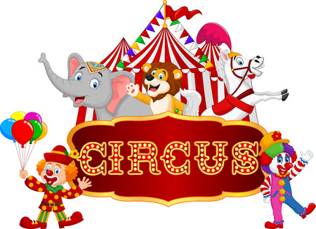 fondo de circo: Ilustración vectorial de dibujos animados feliz animal de circo con el payaso en el fondo de carnaval