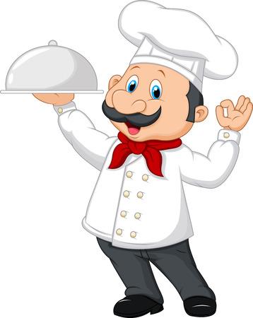 chef: Ilustración vectorial de dibujos animados cocinero divertido con bigote que sostiene una bandeja de plata Vectores