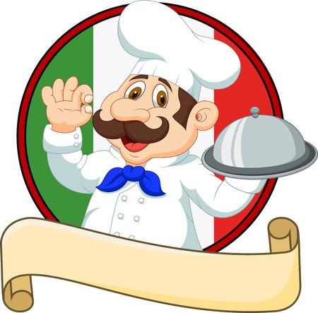 Vector illustratie van Cartoon grappige chef-kok met een snor die een zilveren schotel