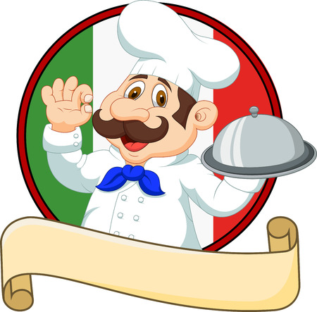 baker: Vector illustration of Cartoon funny chef with a moustache holding a silver platter