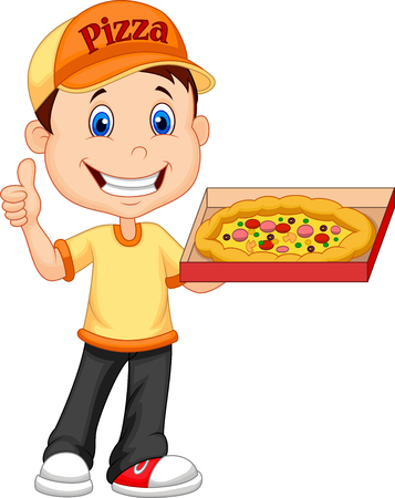extra money: Vector illustration of Delivering pizza. thumb up of cheerful young delivery man holding a pizza box while isolated on white background Illustration